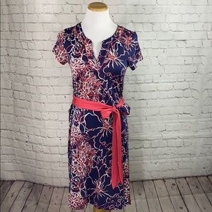 Lily Pulitzer navy and coral dress